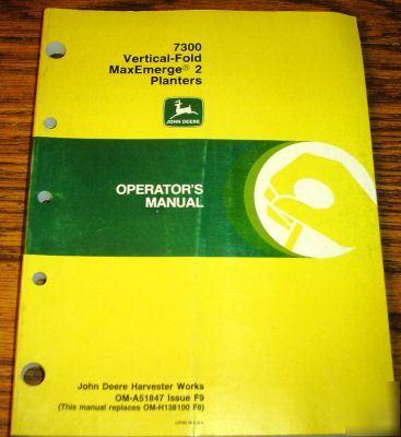 John deere 7300 maxemerge planter operator s manual jd image No jd 7300 planter manual 28 images deere 7300 planter ebay  at suagrazia.org