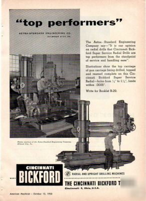 Cincinnati Bickford Radial Drilling Machine Ad 1953 Oh